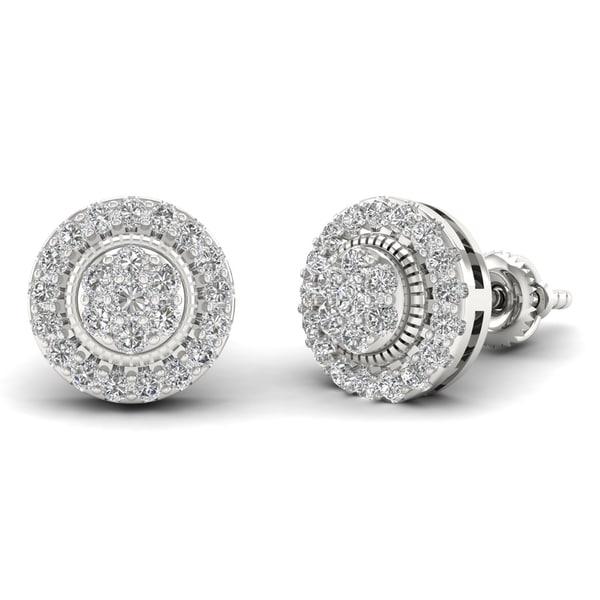 Sterling Silver 1/2ct Diamond Cluster Stud Earrings. Opens flyout.