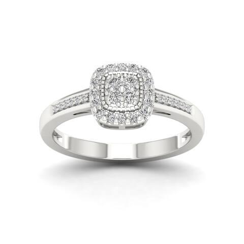 IGI Certified Sterling Silver 1/5ct TDW Diamond Cluster Ring