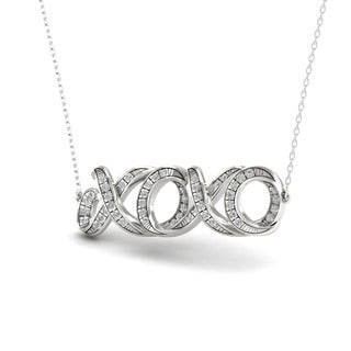 S925 Sterling Silver 1/6ct TDW Diamond XOXO Necklace