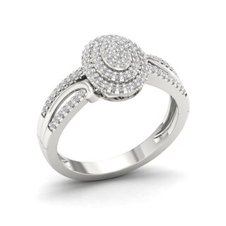 Sterling Silver 1/4ct TDW Diamond Halo Split Shank Ring