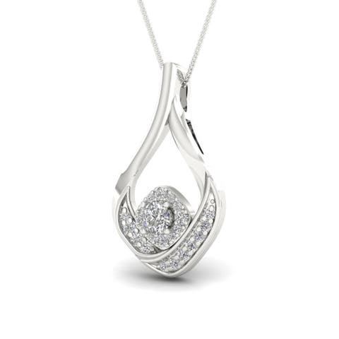 S925 Sterling Silver 1/5ct TDW Fashion Necklace - White