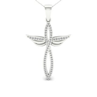 S925 Sterling Silver 1/5ct TDW Diamond Winged Cross Necklace (H-I, I2)