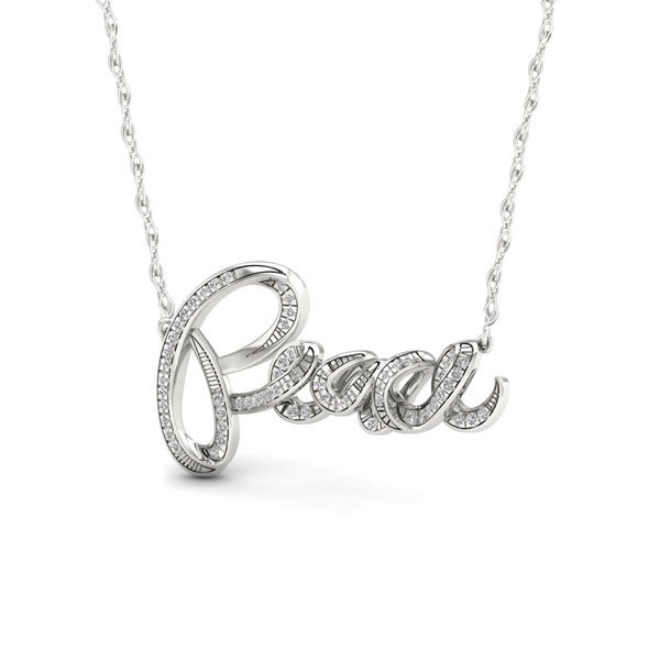 Sterling Silver 1/6ct TDW Diamond Peace Necklace