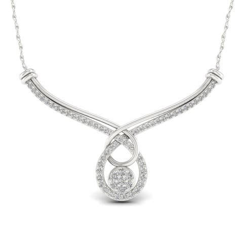 Sterling Silver 1ct TDW Diamond Crossover Necklace