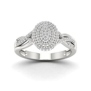 IGI Certified Sterling Silver 1/4ct TDW Diamond Engagement Ring