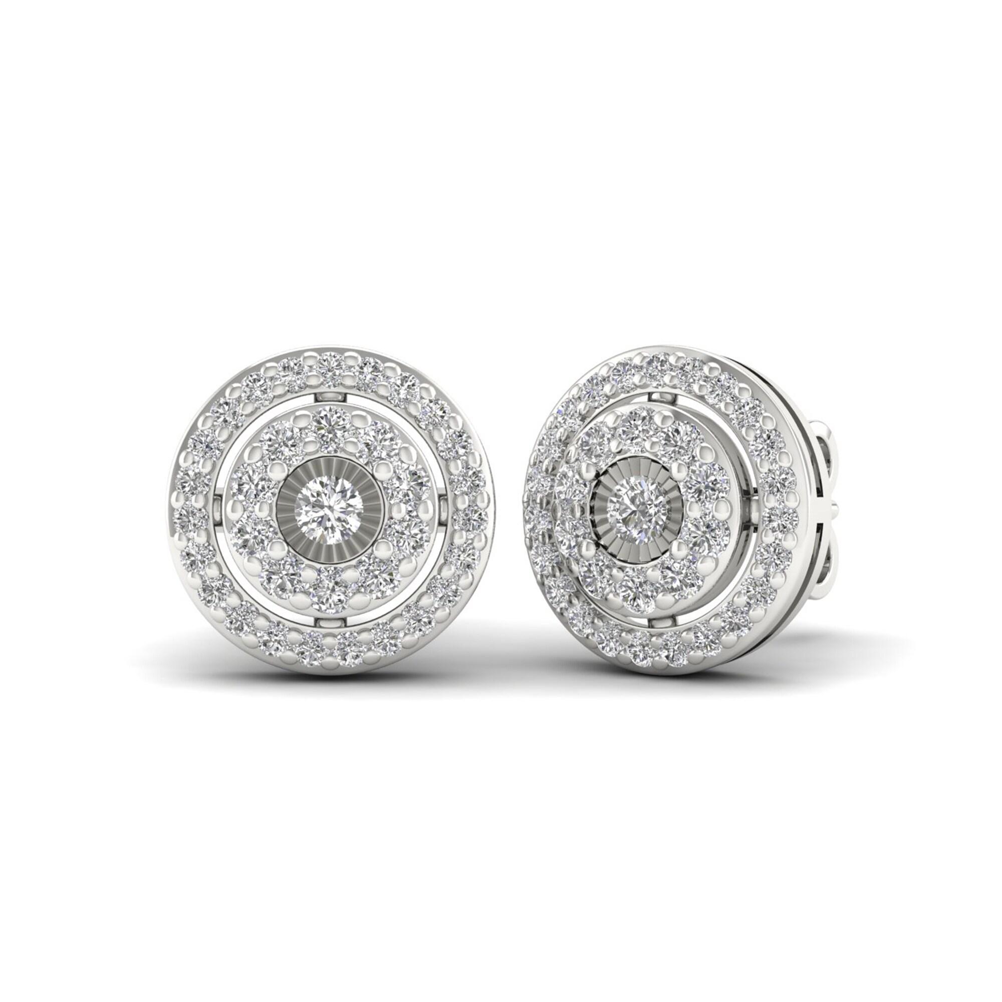 Sterling Silver Black Diamond Circle Frame Cluster Earrings 1//4 ct