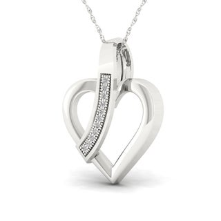 S925 Sterling Silver 1/20ct TDW Diamond Heart Necklace (H-I, I2)