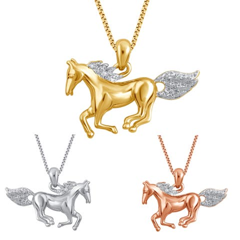 Divina Goldtone and Silvertone Overlay White Diamond Accent Horse Pendant