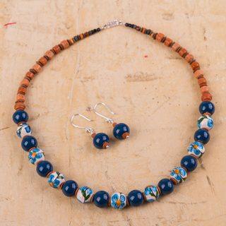 Handmade Sterling Silver Ceramic 'Precious Blue' Jewelry Set (Peru)