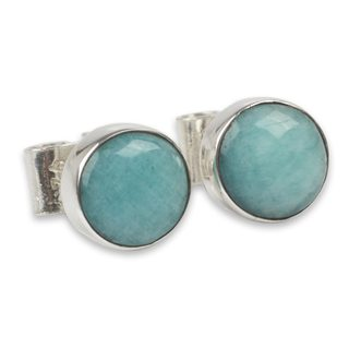 Handcrafted Sterling Silver 'Serene Mind' Amazonite Earrings (Peru)