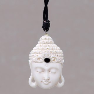 Handcrafted Bone Leather 'White Buddha Head' Necklace (Indonesia)