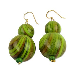 Handcrafted Recycled Plastic 'Dzidzo in Lime Green' Earrings (Ghana)