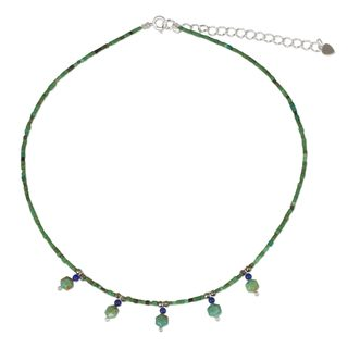 Handcrafted Sterling Silver 'Green Essence' Multi-gemstone Necklace (Thailand)
