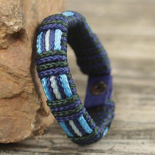 Handmade Men's Polypropylene Cord 'Kente Ocean' Bracelet (Ghana)