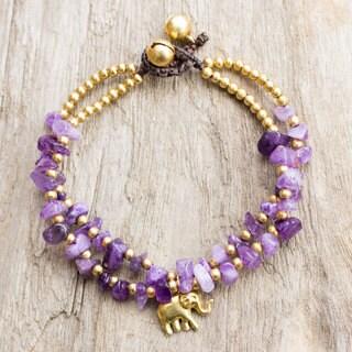 Handcrafted Brass 'Violet Elephant' Quartz Bracelet (Thailand)