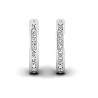 S925 Sterling Silver 1/4ct Diamond Hoop Earrings