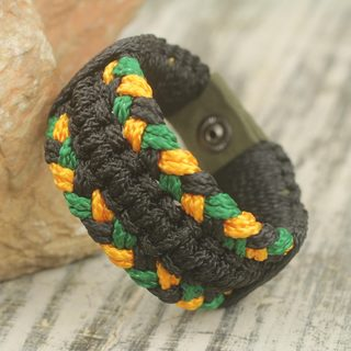Handmade Men's Polypropylene Cord 'Golden Braid' Bracelet (Ghana)