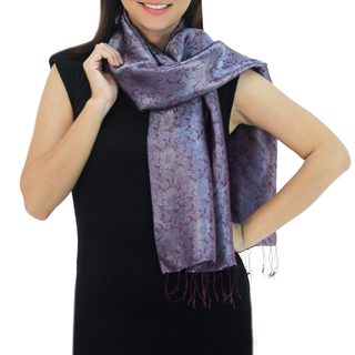 Handcrafted Rayon Silk Blend 'Grey Purple Bouquet' Scarf (Thailand)