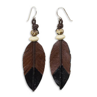 Handcrafted Leather 'Leaf Feather' Earrings (Thailand)