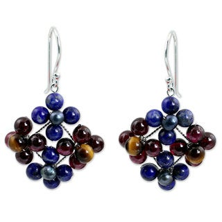 Handcrafted Sterling Silver 'Nosegay' Multi-gemstone Pearl Earrings (4 mm) (Thailand)