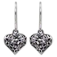 Handmade Sterling Silver 'Blossoming Heart' Earrings (Thailand)