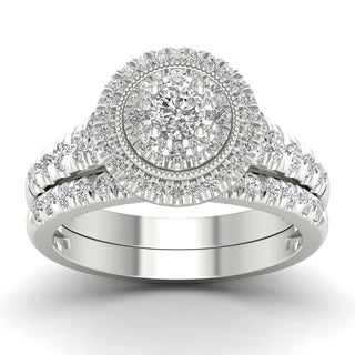 De Couer 14k White Gold 1ct TDW Diamond Halo Bridal Set