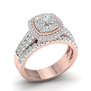 De Couer 14k Rose Gold 1ct TDW Diamond Cluster Halo Bridal Set