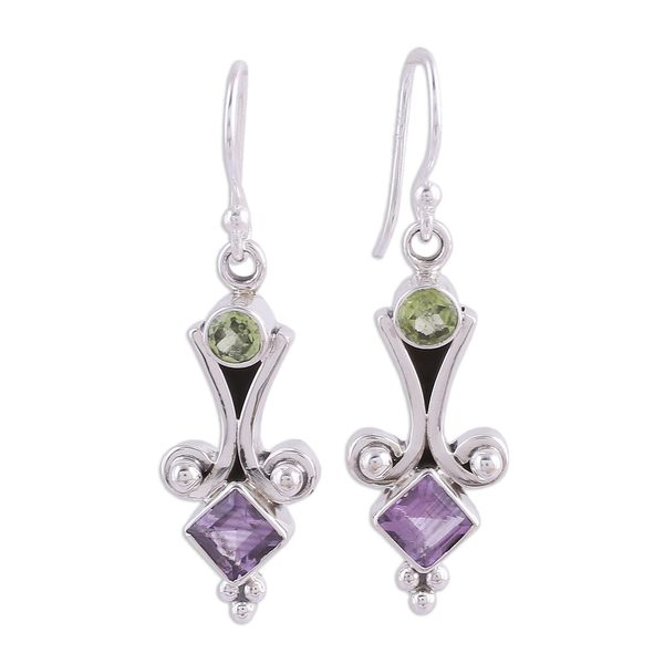 cc8a996ed Handmade Sterling Silver 'Happiness' Peridot Amethyst Earrings ( India