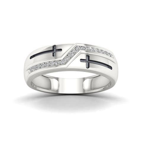 S925 Sterling Silver 1/8ct TDW Diamond Men's Ring - White