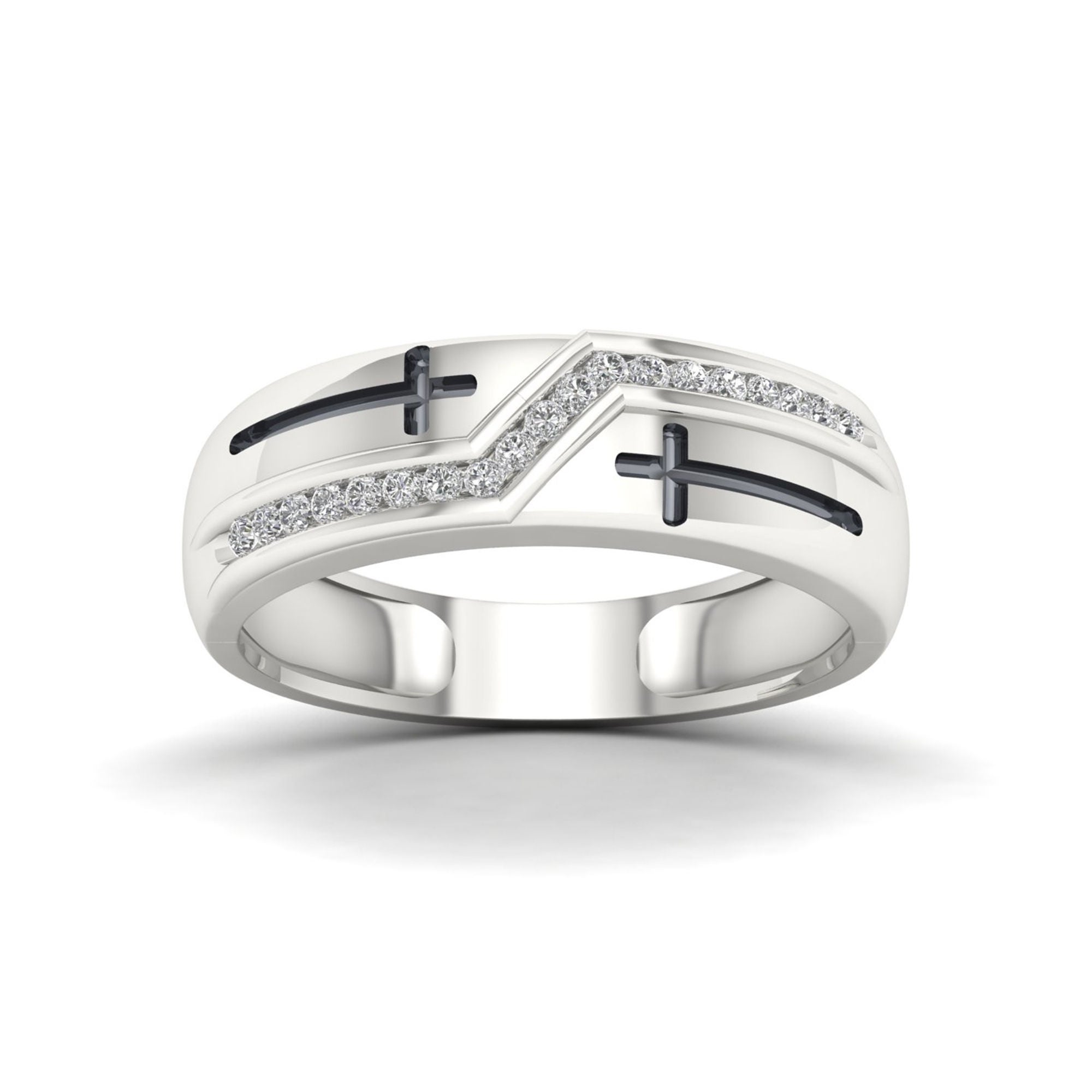 Sterling Silver Mens Round Pave-set Diamond Elevated Band Ring 0.18 Cttw