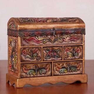 Handmade Tooled Leather 'Antique Tan' Jewelry Box (Peru)