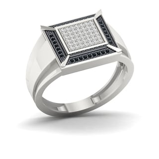 S925 Sterling Silver 1/4ct TDW Black and White Diamond Men's Ring