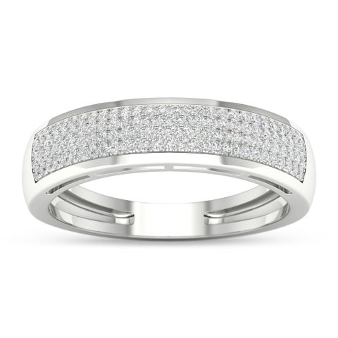 S925 Sterling Silver 1/3ct TDW Diamond Men's Ring - White