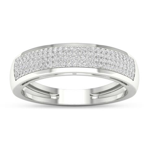 S925 IGI Certified Sterling Silver 1/3ct TDW Diamond Men's Ring - White