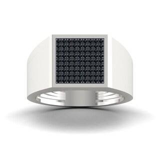 S925 Sterling Silver 1/3ct TDW Black Diamond Men's Ring - White