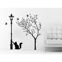 Tree Wall Decals Street Lamp Cat Kitten Decal Vinyl Sticker Baby Children Nursery Bedroom Sticker Decal size 33x33 Color Black