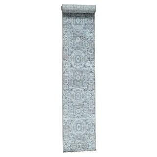 1800getarug Handmade Mamluk Design Undyed Natural Wool XL Runner Rug (2'5x15'6)