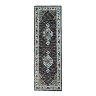 1800getarug Wool and Silk Tabriz Mahi Hand-Knotted 250 Kpsi Runner Rug (2'8x8'3)