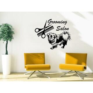Animals Petshop Grooming Salon Dog Scissors Comb Sticker Decal size 44x52 Color Black