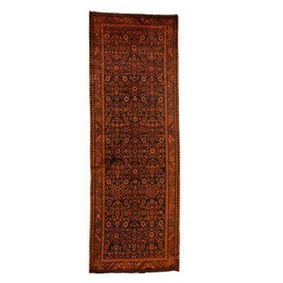 1800getarug Hand-Knotted Overdyed Persian Hamadan Worn Wide Runner Rug (3'7x10'5)