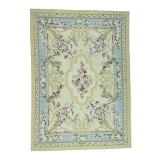 1800getarug Pure Wool Aubusson Flat Weave Hand-Woven Oriental Rug (8'9x12'3)
