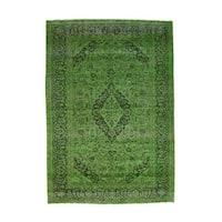 Shahbanu Rugs Handmade Overdyed Persian Tabriz Worn Pure Wool Oriental Rug (6'8x9'7)