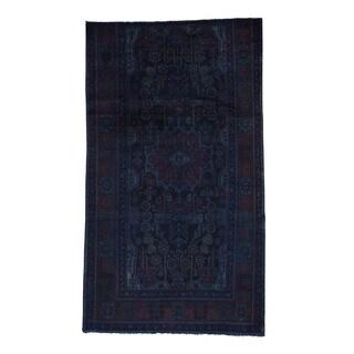 1800getarug Handmade Overdyed Nahavand Worn Oriental Wide Runner Rug (5'2x9'2)