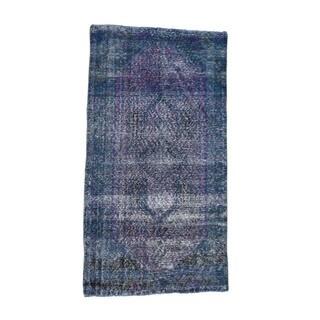 1800getarug Handmade Overdyed Hamadan Worn Oriental Wide Runner Rug (4'2x7'10)