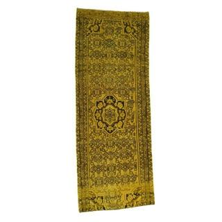 1800getarug Handmade Overdyed Hamadan Worn Oriental Wide Runner Rug (3'10x10'0)