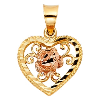 14k Two-tone Gold Flower Heart Pendant and Yellow Gold Curb Chain