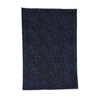 1800getarug Hand-Knotted Pure Wool Overdyed Bakhtiari Worn Oriental Rug (6'2x9'0)