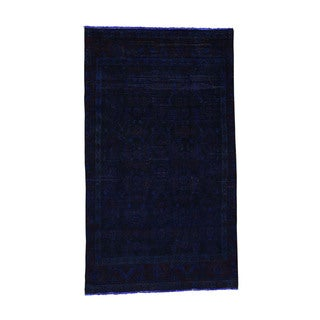 Shahbanu Rugs Hand-Knotted Pure Wool Overdyed Tabriz Worn Oriental Rug (3'8x6'4)