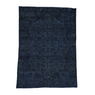 1800getarug Pure Wool Hand-Knotted Persian Bakhtiari Overdyed Worn Rug (6'7x9'1)