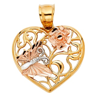 14k Tri-tone Gold Flower and Butterfly Filigree Heart Pendant and Yellow Gold Snail Chain